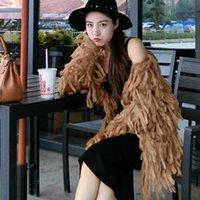 Kadın Kazak Kadın Fringed Şal Ceket Gevşek Ince V Yaka Kazak Püsküller Örme Hırka Uzun Saç Cepler Ceket Dış Giyim 2021 Tops