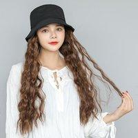 حافة واسعة القبعات 2021 صياد دلو قبعة شعر مستعار أسود براون طويل متموج مجعد كاب الأبيض الطبيعي الاصطناعية الشعر الباروكات للنساء بنات حزب