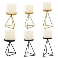 Soporte de vela geométrica de hierro nórdico de hierro forjado triángulo candelero decoración 11ua