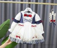 Palace style girls gauze embroidery dress kids lace petals lapel contrast color jacquard Bows belt princess dresses children birthday party clothing Q1154
