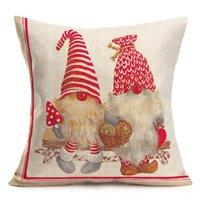 Christmas 45x45cm Throw Pillow Case Covers Red Cute Elf Gnome Xmas Decorations Cotton Linen Winter Holiday Happy New Year Square Cushion Cover Pillowcase