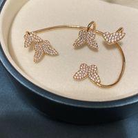 Bonita diamante 3d borboleta escudo moda luxo designer brincos de punho para mulher meninas caixa de presente ouro 1236 b3