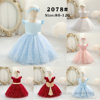 Christmas Infant kids polka dots lace tulle dresses girls back V-neck falbala fly sleeve Bows princess dress Baby 1st birthday party clothing Q2610