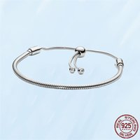 s925 Sterling Silver Bracelets For Women Fit Pandora Charms Beads Classic CZ Diamond Basic Snake Chain Slider Bracelet Lady Gift With Original Box