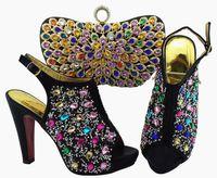 Zapatos de vestir Hermosas mujeres negras Bombas y bolsas con decoración de cristal colorido Bolso de partido africano para QSL005, Talón 12 cm
