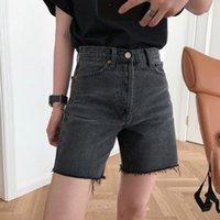Women's Jeans DEAT 2021 Spring And Summer High Waist Button Zippers Balck Denim Short Pants Female WM14801L