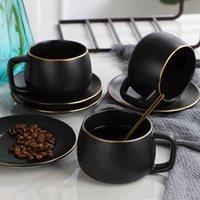 modern coffee mugs matte black s ceramic mug tazas de cafe coffe cup and saucer tumbler taza creativas couple