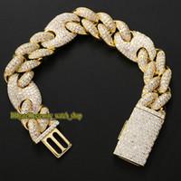 2021 Ewigkeit 9inch Armband Drei zu eins 20mm Kubanisches Armband voller CZ Diamant-Inlay Große Box Schnalle Schwein Nase Euro aus Hip-Hop Armband