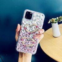 Lüks Tasarımcı Elmas Telefon Kılıfları Için iPhone 12 Pro Max XS XR 7 8 Artı Kristal Degrade Tam Rhinestone Arka Kapak Için Samsung S10 Artı