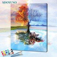 Dipinti Sdoyuno 60x75cm Paint by Number Canvas Pittura Kit Numeri frameless su FAI DA TE quattro stagioni Alberi da colorare