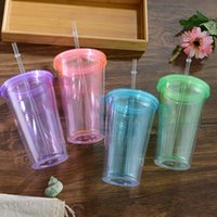 16oz Clear colored Acrylic Tumbler 16oz Plastic Cup with LID...