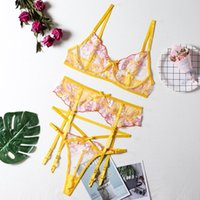 Bras Sets Erotic Lingerie Sexy Embroidery Lace Underwear Set Women Bra And Thong Garters Yellow Push Up Brief Women's