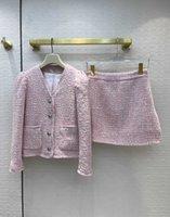 İki Parça Elbise 2021 Sonbahar V Boyun Uzun Kollu Panelli Pembe Mont Ve Kadın Moda Etekler için 2 Parça Setleri 0820-28