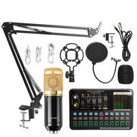 BM800 Microphone Mixer V10X Pro Sound Card Condenser Game BT Audio dj Live Broadcast MIC USB OTG Recording Professional