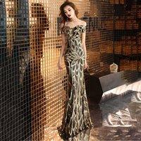 파티 드레스 Lantejoules는 Prom 슬래시 목 Th, 우아한 Eveng 인어 드레스 VPMY에서의 긴 숄더 파티에서 핀 슬래시 목을 입고