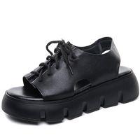 Sandals RASMEUP Women Genuine Leather Ladies Shoes Lace-Up Retro 2021 Wedges Handmade Leisure Concise Platform