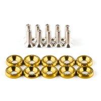 JDM 10 pièces Gold CNC Billet d'aluminium Fender Fender Rondelle Moteur Dress Up Kit de laveuse Mot de passe JDM Bumper Dress Up Kit de rondelles avec boulons