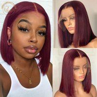 Lace Wigs Red Bob Front Wig 13X4 Colored Human Hair Frontal Ombre 1B 27 Honey Blonde Ginger Burgundy 99J Short