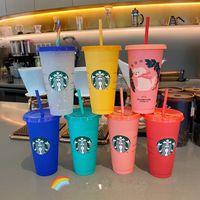 Starbucks 24oz / 710ml 플라스틱 텀블러 재사용 가능한 맑은 마시는 플랫 바닥 컵 기둥 모양 뚜껑 짚 머그잔 Bardian NPCS 무료 배송