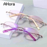 Солнцезащитные очки Ahora Женские Голубые Света Блокировка Очки Frame Ulralight Кристаллические Металлические Оптические Оправы Очки Очки Компьютер Googles Eyewear