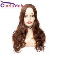 Natural ondulado marrom peruca sintética longa perucas não lace dianteiras para mulheres negras de densidade completa resistente ao calor peruca sintética 24 polegadas