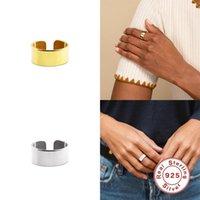 Anéis de cluster gs 925 esterlina prata cor sólida tamanho grande espesso ajustável aberto para mulheres rock punk ouro luxo fino jóias1