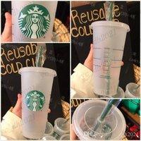 DHL Expédition 24oz Tobueurs en plastique Plaque de jus de jus de boisson avec lèvre et paille Magic Tasse Costom Starbucks Coupe transparente en plastique