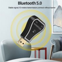 Bluetooth 5.0 Audio Receiver Transmitter 7 Colors Led Backlit Wireless Car 3.5mm Adapter For Headphone TV Computer USB interface