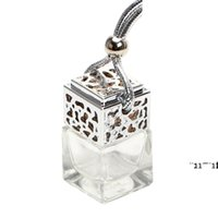 Cube Hollow Car Perfume Bottle Rearview Ornament Hanging Air Freshener For Essential Oils Diffuser Fragrance Empty Glass Bottle RRF10942
