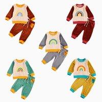 0-3y أزياء طفل أطفال طفل رضيع الفتيات ملابس الخريف الأطفال rainbow طباعة المخملية البلوز بلوزات + الدانتيل متابعة السراويل