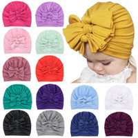 Newest Baby Hats Big Bow Caps Turban Bowknot Hairbands for Newborn Baby Infant Kids Head Wraps Beanie toddler Ear Muff 15 Colors