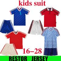 Kit enfants 1986 92 98 Jersey de football de l'homme rétro 98 99 Vintage Classic Boys Football Shirt Unite Beckham Cole Solskjaer Utd Enfants Ensemble