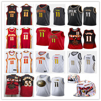 NCAA Mens Trey 11 Young Jerseys Dikembe 55 Mutombo Basketball Jerseys City New Edition 야구 모자 화이트 블랙 레드