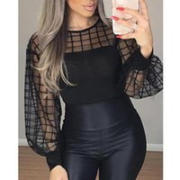 Women's Blouses & Shirts Fashion Sexy Perspective Mesh For Women Lantern Sleeve Sheer Grid Patchwork Casual Blouse