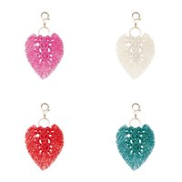 Bohemian Tassel Key Ring Party Favor Gifts Keyrings Hand-woven Bag Accessories Rope Leaf European American Pendant Art Craft 2912 Q2