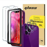 Kits de verre trempé pour iPhone 13 12 11 XS Pro Max Mini Protecteur d'écran HD Iphone13 Lentille de caméra avec boîte de vente au détail
