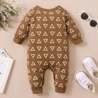Jumpsuits 2021 Unisex Baby Boys Girls Triangle Print Romper Born Long Sleeve O-neck Jumpsuit For Spring, Autumn 0-18M