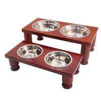 Novos alimentadores de cães Bacia de mesa de madeira cerâmica e aço inoxidável Boca dupla Bacia de alta qualidade Antiskid Antiskid suprimentos