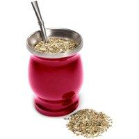 Tassen Yerba Mate Natürlicher Kürbis / Teetasse Set 8 Unzen Bombillas Stroh, Reinigungsbürste, Edelstahl, doppelwandig, leicht sauber