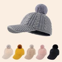 Caps & Hats Baby Knitted Baseball Cap Girls Boys Casual Solid Color Winter Children Hat Cute Poms Ball Beanies
