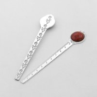 Antique Copper Metal Bookmark Key Ring Ruler Bookmarks with 20mm Round Healing Crystal Gemstones Assorted Beads