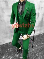 Custom-made One Button Groomsmen Peak Lapel Groom Tuxedos Men Suits Wedding Prom Dinner Man Blazer(Jacket+Pants+Tie+Vest) W916