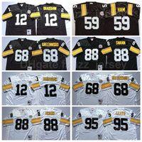 Retro NCAA Futebol Vintage 68 L.C Greenwood Jersey 12 Terry Bradshaw 59 Jack Ham 88 Lynn Swann 95 Greg Lloyd Preto Branco