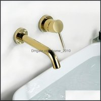 Sink Faucets Faucets, Showers As Home & Gardengold Color Simple Wall Mounted Bathroom Solid Brass Single Handle Basin Water Mixer Faucet Gol
