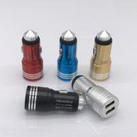 듀얼 USB 충전기 금속 해머 자동차 충전기 5V 2.4A 알루미늄 합금 자동차 USB 충전기 긴급 안전 해머 기능 무료 배송