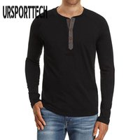 T-shirts Hommes UrsportTech Brand Couleur Solid Spring Spring Automne à manches longues Fashion Bouton Design Slim Casual Hommes T-shirts respirants
