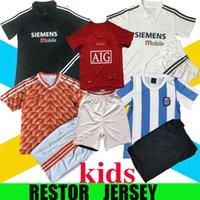 Ретро Детский комплект футбол для футбола 1986 1988 2002 2003 2007 2008 человек старинные классические мальчики костюм футбольная футболка United Beckham Cole Solskjaer Юнайтед детей Установите домой