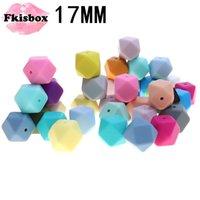 FKISBOX 100 pcs Silicone Beething Beads Hexágono 17mm BPA grátis mastigar grânulos de silicone solta Charms para DIY Beething Colar 210311
