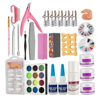 Nail Art Kits Set Acryl Flüssig Glitter Pulver File Pinselform Tipps Werkzeuge DIY Kit Salon