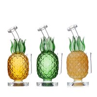 7.5'' Colored pineapple shape fruit themed hookah curved neck glass bong